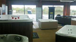 Jacuzzis and spas on display at our showroom near Swindon